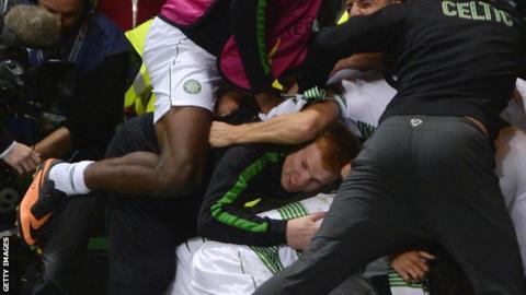 Celtic manager Neil Lennon celebrates Jamers Forrest's goal