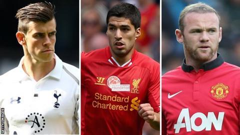 Gareth Bale, Luis Suarez, Wayne Rooney