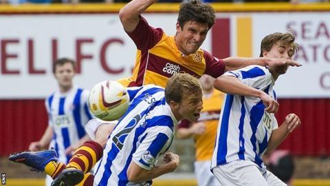 John Sutton causes the Kilmarnock defence problems