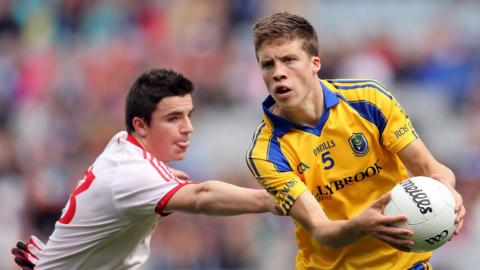 Tyrone's Lee Brennan in action against Roscommon's Ronan Daly at the GAA's Croke Park headquarters