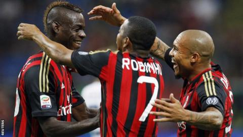 Mario Balotelli, Robinho and Nigel de Jong