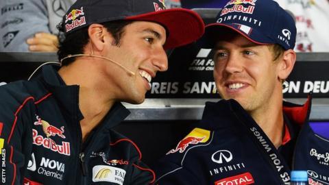 Daniel Ricciardo and Sebastian Vettel