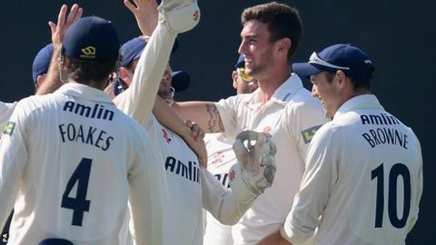 Essex players celebrate Reece Topley's 11-wicket haul