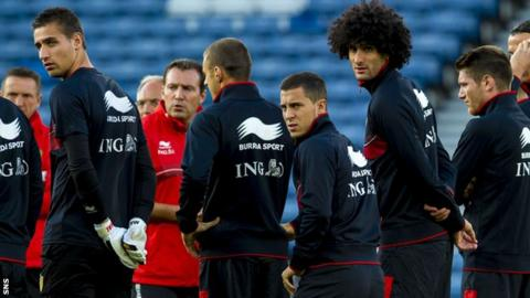 The Belgian squad train at Hampden