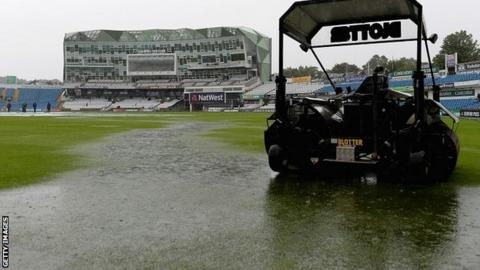 Puddles on the outfield
