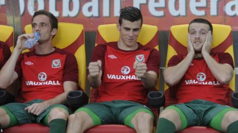 The World's most expensive footballer, Real Madrid's Gareth Bale, starts on the bench for Wales' World Cup qualifier against Macedonia in Skopje.