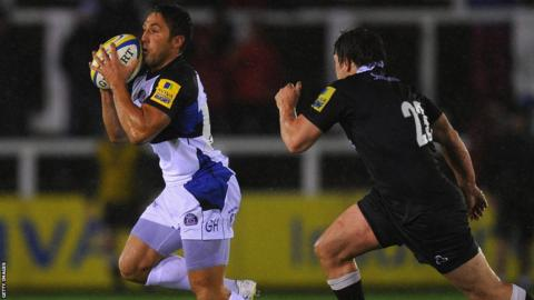 Gavin Henson came off the bench to make his debut in Bath's 21-0 win at Newcastle Falcons in the Aviva Premiership.