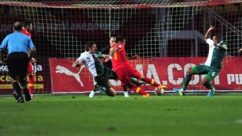 Ivan Trickovski puts Macedonia ahead against Wales