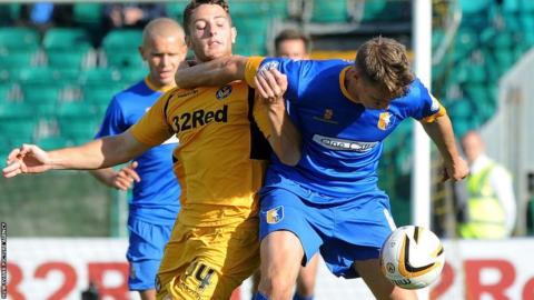Conor Washington gets in a tangle with Mansfield Town's former Wrexham defender Martin Riley.