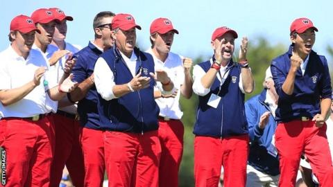 The USA team celebrate on day one at Southampton, NY