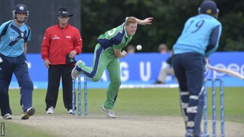 Kevin O'Brien bowling against Scotland on Sunday