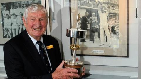 Jim Parks, with the trophy, 50 years on