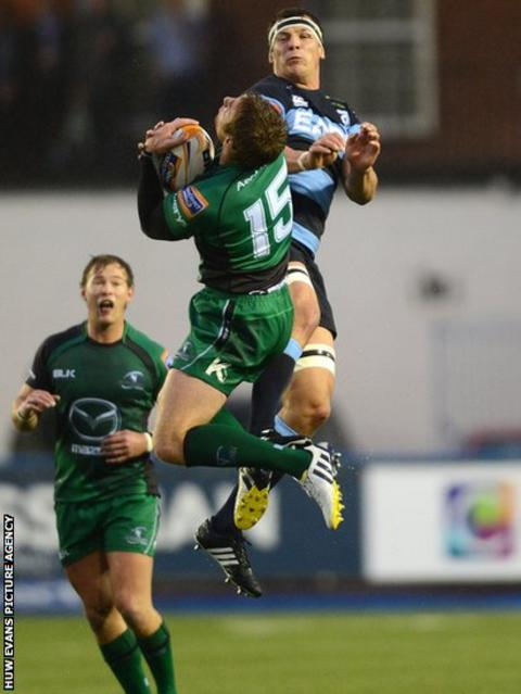 Robin Copeland challenges Connacht's Gavin Duffy as Cardiff Blues host the Irish province in the Pro12