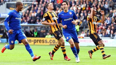 Cardiff midfielder Peter Whittingham (second right) celebrates scoring against Hull