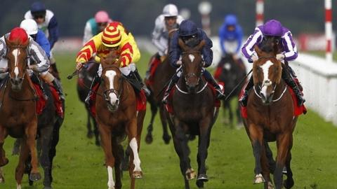 Leading Light (right) wins the 2013 St Leger