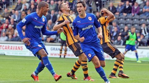 Peter Whittingham scores in Cardiff City's 1-1 away draw against Hull in the Premier League.