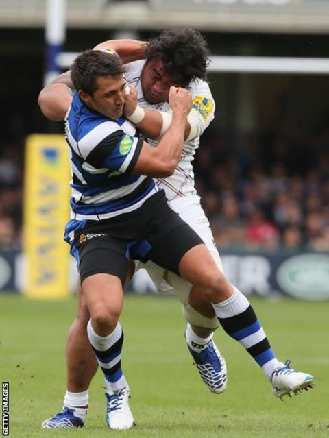 Gavin Henson tackles Logovi'i Mulipola of Leicester in Bath's 27-20 win in the Aviva Premiership clash at the Recreation Ground.