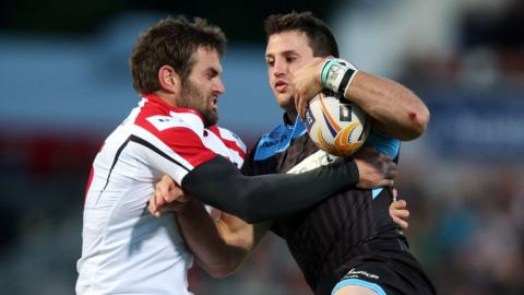 Jared Payne tackles Tommy Seymour as Ulster lose 13-12 to Glasgow in Belfast