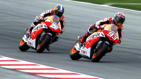 Marc Marquez fights with Dani Pedrosa