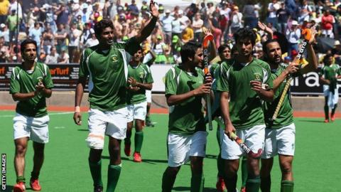 Pakistan players celebrate after defeating India at the 2012 Champions Trophy in Melbourne