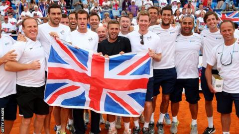 Great Britain celebrate Davis Cup victory