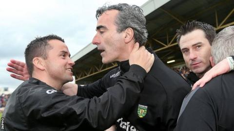 Maxi Curran (left) and Rory Gallagher (right) pictured with Donegal manager Jim McGuinness