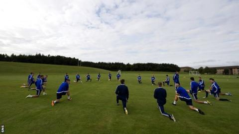 Hearts players training at Riccarton