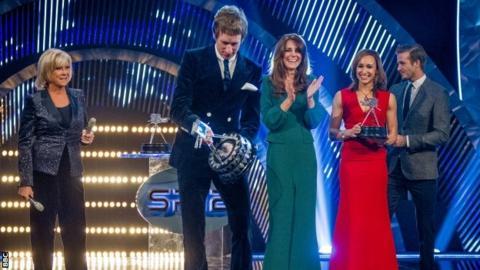 Left to right: Sue Barker, Sir Bradley Wiggins, the Duchess of Cambridge, Jessica Ennis-Hill and David Beckham