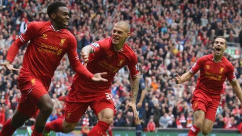 Liverpool players celebrate a Daniel Sturridge goal