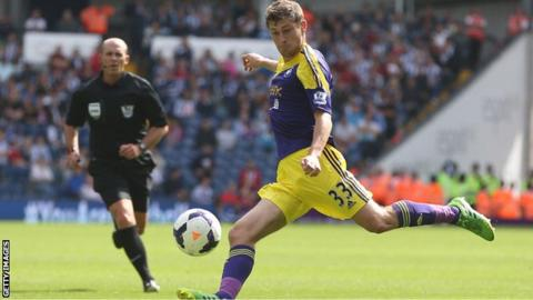 Ben Davies about to shoot for goal for Swansea against West Brom