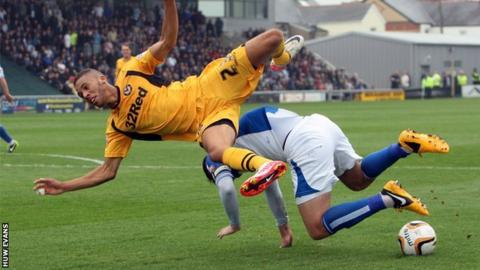 Newport striker Christian Jolley in action against Bristol Rovers