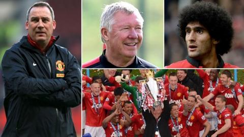 Rene Meulensteen, Sir Alex Ferguson, Marouane Fellaini and Manchester United players celebrating their 2012-13 Premier League title