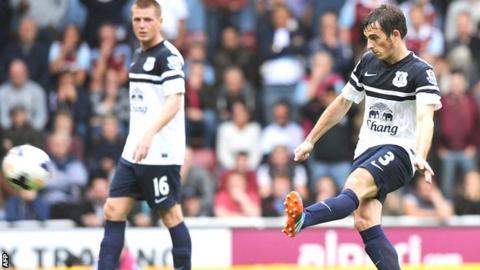 Leighton Baines scores for Everton against Sunderland
