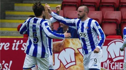 Kilmarnock striker Kris Boyd celebrates scoring his team's leveller