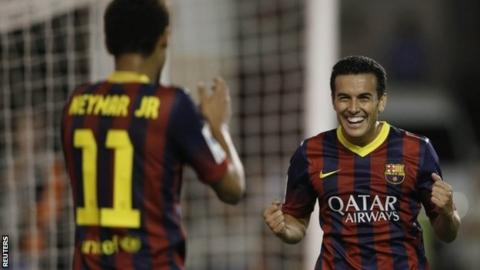 Barcelona's Pedro Rodriguez (right) celebrates his third goal with team-mate Neymar
