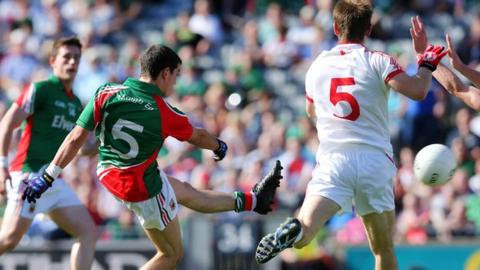 Tommy Conroy scores Mayo's first goal in the Minor final