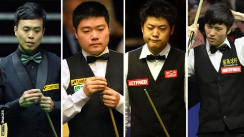 (left to right) Marco Fu, Ding Junhui, Liang Wenbo and Cao Yupeng