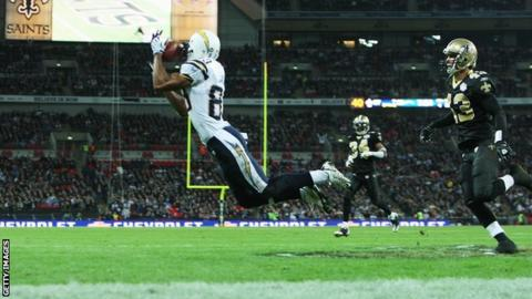 San Diego Chargers' Vincent Jackson catches for a touchdown during the Bridgestone International Series NFL match between San Diego Chargers and New Orleans Saints