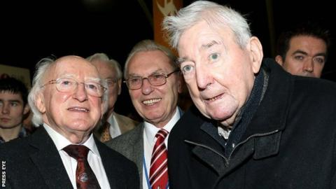 Former GAA president Paddy McFlynn (right) with Irish President Michael D Higgins earlier this year
