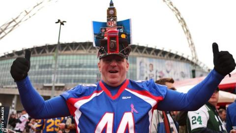 NFL fan at Wembley Stadium