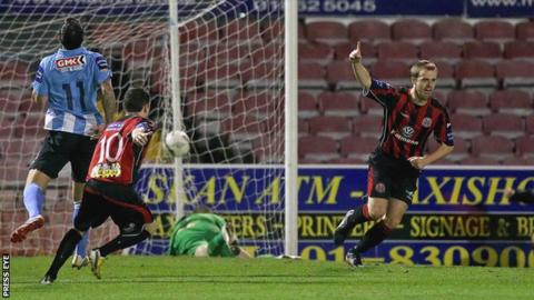 Ryan McEvoy celebrates after scoring the opener against Derry