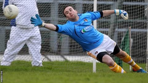 St Gall's goalkeeper Chris Kerr saved a Cargin penalty