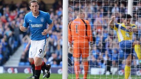 Jon Daly celebrates after scoring for Rangers against Stenhousemuir