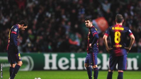 Barcelona players dejected v Celtic