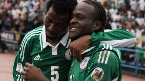 Nigeria's Efe Ambrose and Victor Moses