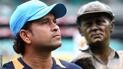 Sachin Tendulkar before his final ODI in Australia in 2012, a bust of Sir Donald Bradman in the background