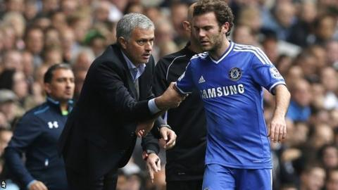 Chelsea manager Jose Mourinho and forward Juan Mata