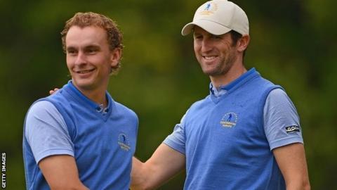 Joost Luiten and Gregory Bourdy celebrate