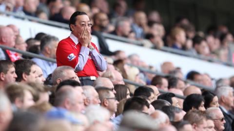 Cardiff City owner Vincent Tan looks anxious as Cardiff City go down 2-1 at home to Newcastle United