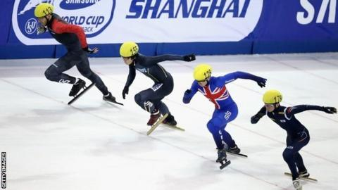 GB's Richard Shoebridge competes at the short track speed skating World Cup